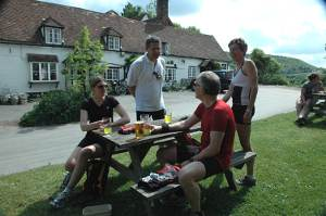 Cyclists at The Lions of Bledlow, near Princes Risborough